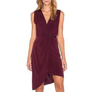 bobi BLACK Liquid Jersey Wrap Asymmetrical Dress